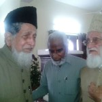 Moulana Syed Jalaluddin Umari along with Intizar Nayeem and Moulana Yusuf Islahi after being elected Ameer-e-Jamaat for the third time